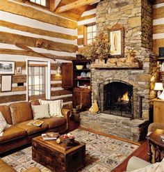 love the fire place. cabin <3