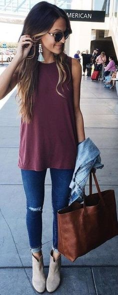 Booties, distressed jeans and jean jacket make for a perfect fall outfit!