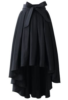 Bowknot Asymmetri Waterfall Skirt in Black. I really don't like the hi-low dresses and skirts but I like this one