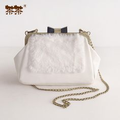 2016 Metal Frame Mouth Gold Fur Leather PU Women's Handbag Small Bags Shoulder Chains Messenger Pure Color White Package Totes