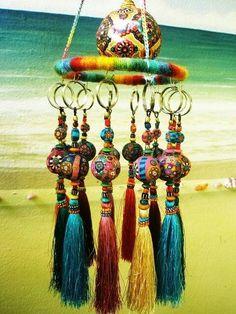Fimo work by Aow Dusdee, Thailand~ Hippie Bohemian, Hippie Chic, Boho Gypsy, Bohemian Decor, Dreamcatchers, Passementerie, Mobiles, Gypsy Style, Wind Chimes