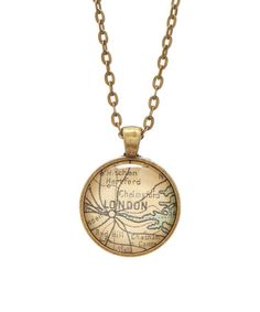 This Antique Bronze 'London' World Map Pendant Necklace is perfect! #zulilyfinds