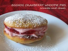 Eggnog Cranberry Whoopie Pies - Crumbs and Chaos