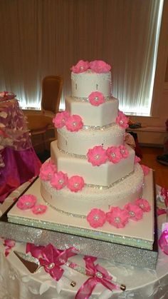 Pink and Silver wedding cake...too much pink with the top would be pretty