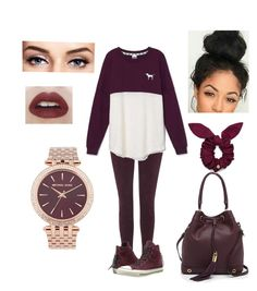"""""""Burgundy"""" by oliviaolmstead on Polyvore featuring Topshop, Victoria's Secret, Converse, Milly and Marc by Marc Jacobs"""