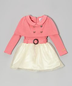 Pink & White Cape Dress - Toddler & Girls | Daily deals for moms, babies and kids