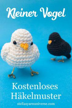 Little Bird – Free Crochet Pattern – Stella's Yarn Universe – Amigurumi Crochet Bird Patterns, Crochet Birds, Cute Crochet, Crochet Animals, Knit Crochet, Crochet Hats, Crocheted Flowers, Crochet Ideas, Flower Patterns