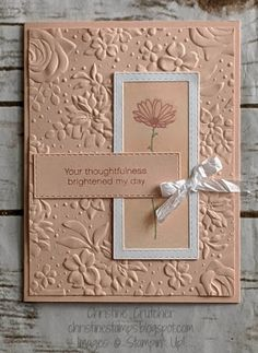 Daisy Delight Card - Sweet and simple card featuring the Daisy Delight stamp set and Country Floral embossing folder. Handmade Birthday Cards, Greeting Cards Handmade, Farewell Greeting Cards, Fleurs Diy, Handmade Stamps, Handmade Bookmarks, Embossed Cards, Stamping Up Cards, Sympathy Cards