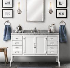 Restoration Hardware - might work for the downstairs powder room Loft Bathroom, Small Bathroom, Master Bathroom, Single Sink Vanity, Vanity Sink, Apothecary Jars Bathroom, Loft Design, Amazing Bathrooms, Bathroom Inspiration