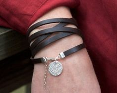 Five Time Red Brown Leather Wrap with by roundhousejewelry on Etsy