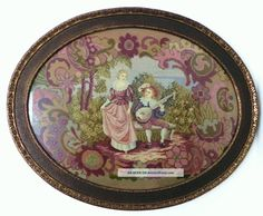 Antique Completely Needlepoint Scenic Oval Tapestry&antique Frame 30x24 Tapestries photo