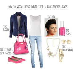 How to Wear: Basic White Tank + Blue Skinny Jeans, created by thermharrison.polyvore.com