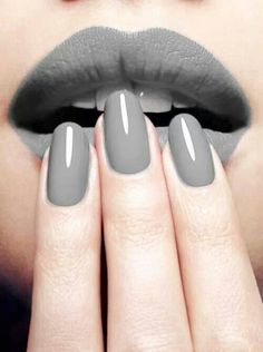 Grey Lips & Nails -