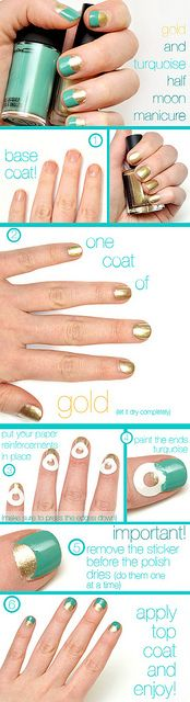 half-moon manicure step-by-step... gotta try this!