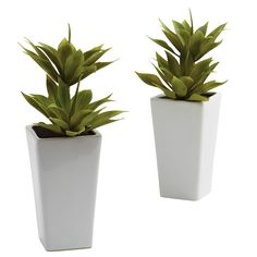 For mantle in living room- Double Mini Agave and Planter Decorative Plants (Set of 2) | Overstock™ Shopping - Great Deals on Nearly Natural Silk Plants