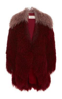 Burgundy and lavender mongolian lamb fur jacket by RODARTE for Preorder on Moda Operandi