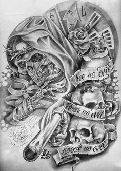 Evil Skull Tattoo, Skull Rose Tattoos, Skull Girl Tattoo, Tattoo Design Drawings, Skull Tattoo Design, Tattoo Sketches, Tattoo Designs, Chest Tattoo Drawings, Cool Chest Tattoos