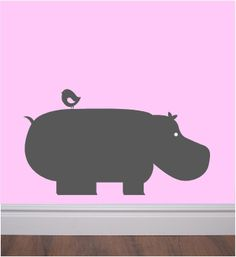 HIppo and bird wall vinyl