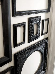 painted frames on wall with white/black wallpaper surrounding small flat screen sitting on mirror chest w rest walls gray,blk/w gold cornice board over with sheers underneath. Empty Picture Frames, Empty Frames, Black Picture Frames, Picture Wall, Black Frames, Photo Wall, Gallery Wall Frames, Frames On Wall, Gallery Walls