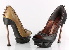 awesome HADES IRONPUNK Women's Fashion Stylish Steampunk Styled Peep-toe Pumps Sexy Shoe, Color:BURGUNDY, US Size10
