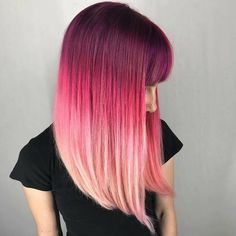 Hairstyles With Bangs .Hairstyles With Bangs Hair Dye Colors, Cool Hair Color, Color Melting Hair, Pink Ombre Hair, Coloured Hair, Gorgeous Hair, Hair Looks, Dyed Hair, Hair Inspiration