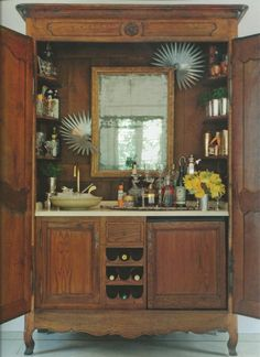Repurposed Cabinets, Armoires, Benches and Trays - great ways vintage and newer pieces are used as wet bars - via Roses and Rust: Monday Musings - Serving Drinks with Style