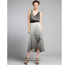 Eva Franco black and off white striped 'Camille' belted sleeveless maxi dress