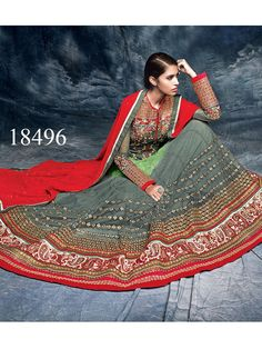 Viva N Diva Red, Green And Grey Colored Net And Banglori #Silk #Salwar #Suit for Online #Shopping.