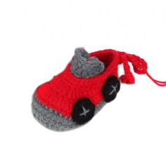 Cute Handmade Red Car Baby Booties