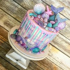 13 Birthday Cake, Mermaid Birthday Cakes, Flamingo Birthday, Little Mermaid Cakes, Little Mermaid Parties, Mermaid Party Decorations, Sea Cakes, Kid Cupcakes, Amazing Wedding Cakes