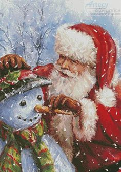 Artecy Cross Stitch. Santa with Snowman Cross Stitch Pattern to print online.