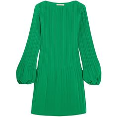 Maje Pleated crepe mini dress (4 750 UAH) ❤ liked on Polyvore featuring dresses, forest green, short dresses, short flare dress, flared mini dress, mini dress and shirred dress