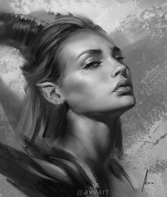 View information and inspiring digital artwork from one of my inspirational artists, Aleksei Vinogradov, whose female portraits, are mouth watering. L'art Du Portrait, Portraits, Digital Portrait, Dark Fantasy Art, Dark Art, Art Sketches, Art Drawings, Realistic Paintings, Maleficent