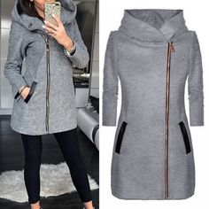 Lammei Winter Warm Coat Women 2018 With Hooded Pockets Fashion Long Jackets For Ladies Street Fashion Casual Thicken Overcoat Price: 22.50 & FREE Shipping #fashion #tech #home #lifestyle Long Jackets For Women, Winter Jackets Women, Coats For Women, Clothes For Women, Spring Jackets, High Collar, Street Style Women, Hoodie, Ootd
