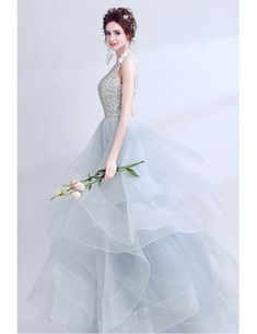 6d9f3100e84c Sparkly Grey Ball Gown Prom Dress Long With Open Back Wholesale #T69383 -  GemGrace.com