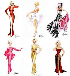 Costume designs by William Travilla for Marilyn Monroe