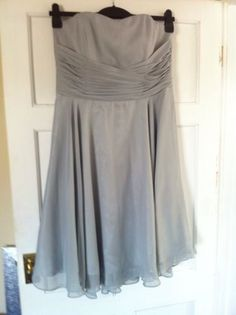 Beautiful Silver Grey Strapless Dress Size 16 Suitable Bridesmaid/prom/wedding