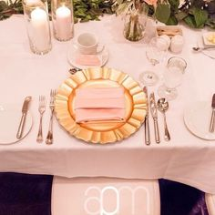 Gold Flair Chargers with blush accent Gold Chargers, Charger Plates, Showcase Design, Event Decor, Napkins, Shots, Blush, Events, Table Decorations