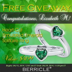 Lizabeth M. has been drawn as the lucky winner of our latest giveaway, congratulations! *See the prize ring: http://www.berricle.com/heart-cut-cz-simulated-emerald-sterling-silver-solitaire-ring-0-74-ct-jewelry-r840-em.htm #BerricleGiveaway #berricle #jewelry