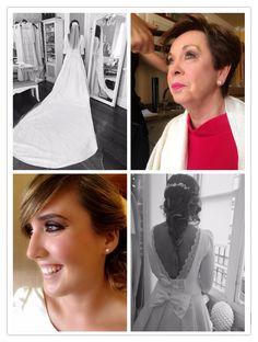 Maquillaje: Tamara Pereda. Vestido de la novia y madre de la novia: Alicia Rueda Peluquería: Fernando Santiago