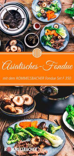 Asian fondue with spicy broth - - Essen Ideen Krups Prep&cook, Broth Fondue Recipes, Italian Dinner Recipes, Dinner Sets, Snack, Appetizer Recipes, Shrimp Recipes, Vegan Recipes, Vegan Meals