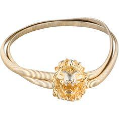 Pre-owned Judith Leiber Chain Lion Waist Belt ($155) ❤ liked on Polyvore featuring accessories, belts, metallic, hook belt, metallic stretch belt, chain belt, metallic belts and stretch belt