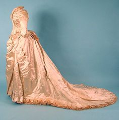 Satin Wedding Gown, 1875-1885, love the old style. I want to make a gown myself