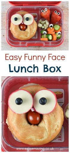 """Ausgezeichnet Quick and easy """"funny face"""" bagel packed lunch idea - make your kids smile when th. Quick and easy """"funny face"""" bagel packed. Hiking Food, Backpacking Food, Backpacking Hammock, Camping, Toddler Meals, Kids Meals, Toddler Food, Healthy Snacks For Kids, Eating Healthy"""