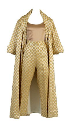 1960's Ivory + Gold Checkerboard Brocade Pant + Coat Ensemble