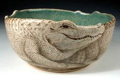 Beautiful and unique hand painted pottery by Nan Hamilton, featuring dog art and animal subjects Boston, MA. Pottery Bowls, Ceramic Pottery, Pottery Art, Pottery Ideas, Thrown Pottery, Slab Pottery, Pottery Studio, Book Sculpture, Pottery Sculpture
