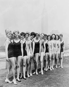Photo shows a bevy of girls competing for Miss New York City title for Miss America contest at Grace Darwin Airline Hostess School in New York City. This vintage black & white photograph dates to Vintage Bathing Suits, Vintage Swimsuits, Old Photos, Vintage Photos, Nice Photos, New York City Photos, Pageant Girls, New York Photography, Vintage Photography