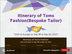 Itinerary of Toms Fashion(Bespoke Tailor) Visit to Europe on Sep 08 to Sep 24, 2013