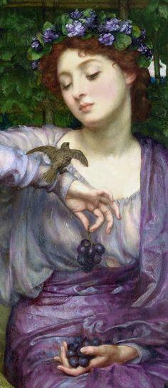 """Lesbia and Her Sparrow,"" [détail] 1907 -- by Sir Edward John Poynter (English…"