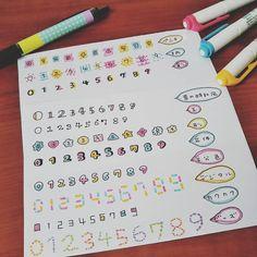 数字の色んな飾り文字を書いて遊びました🍓楽しい!色変えたりしたらまた違った雰囲気になりそうだな✨#飾り文字 #数字 #ペン #マイルドライナー #フォント #文具 #文房具 #手書き #ノート術 #手帳術